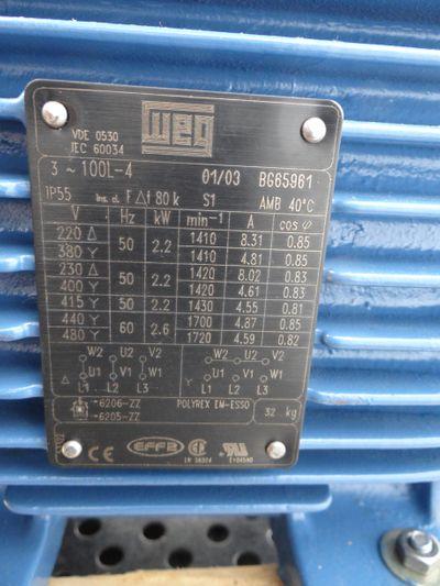 WEG 100L-4 100L4 2.2KW4P100L-220-240/380-415V, 50Hz -unused/OVP- – Bild 3