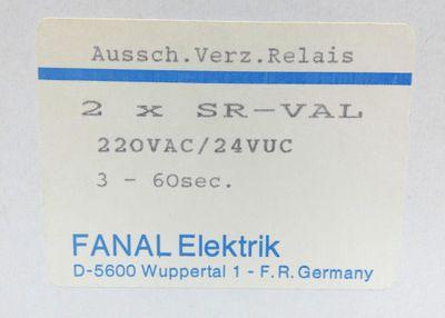 2x Fanal SR-VAL SR VAL 220VAC/24VUC 3-60sec. Aussch.Verz.Relais -unused/OVP- – Bild 2