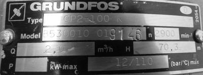Grundfos CP 2-100K   CP2100K  Kreiselpumpe  2,0m³/h  70,3 m H   2900r/min -used- – Bild 2