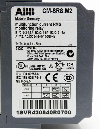 ABB CM-SRS.M2 1SVR430840R0700 0,1s - 30s Stromüberwachungsrelais 24-240V -unused – Bild 3
