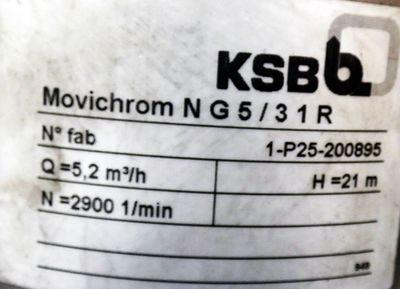KSB Movichrom   NG5/31R  NG531R Druckerhöhungspumpe  5,2m³/h   21,0 m H  -used- – Bild 2
