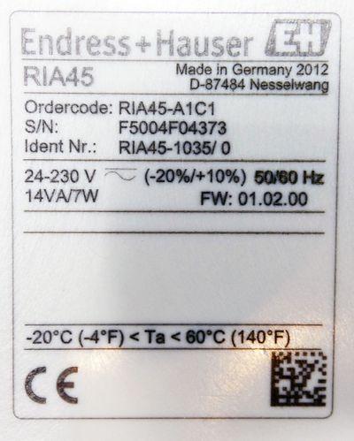 Endress+Hauser RIA45 RIA 45 RIA45-A1C1 RIA45-1035/0 24-230V FW: 01.02.00 -used- – Bild 3