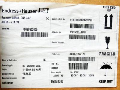 Endress+Hauser PROMASS F 80F08-2TK7/0 80F08-AD2SAAAGAAA8 40bar 600psi-unused/OVP – Bild 4