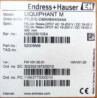 Endress+Hauser Liquiphant M FTL51C-DB8MBM4G4AA 52005888 500 mm -unused/OVP- – Bild 3