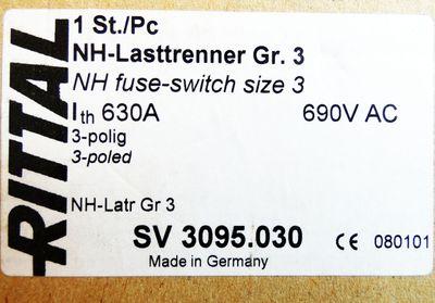 Rittal SV 3095.030 SV3095.030 NH-Lasttrenner Gr. 3 630A 690V AC -unused/OVP- – Bild 3