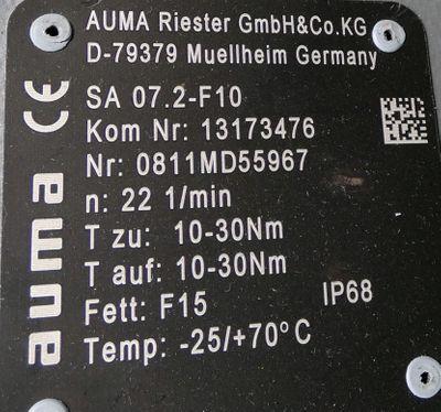 AUMA SA 07.2-F10 /VD0063-4/30B /AC 01.2 elektr. Drehantrieb,Stellantrieb -used-  – Bild 3