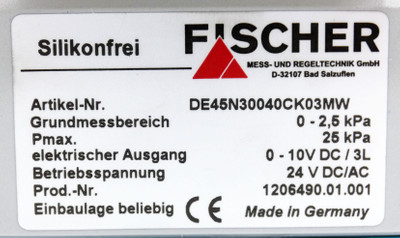 Fischer DE45N30040CK03MW 0-2,5kPa Digitaler Differenzdruckschalter -unused- – Bild 2