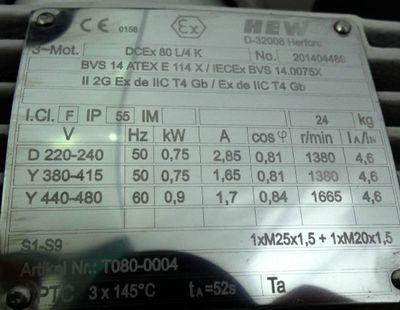 HEW DCEx80L/4K EX-geschützter Drehstrommotor 0,75 KW -unused- – Bild 2