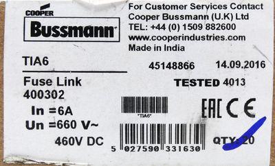 19x Cooper Bussmann TIA6 TIA 6 6Amp Sicherung -unused/OVP- – Bild 2