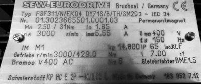 PSF 311/N/EK04 DY71S/B/TH/SM20 Getriebeservomotor  I = 7,00  -unused- – Bild 2