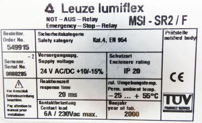 Leuze lumiflex MSI-SR2/F NOT-AUS-Relay -used- – Bild 3