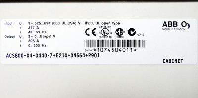ABB Oy ACS800-07-0440-7+E205+E210+P901 396A 0-300 Hz Frequenzumrichter -unused- – Bild 5