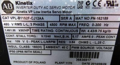 ALLEN BRADLEY   VPL-B1152F-CJ12AA   KINETIX   Servomotor  -used- – Bild 2