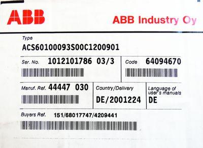 ABB ACS 600 ACS60100093S00C1200901 64094670 Frequenzumrichter -unused/OVP- – Bild 2
