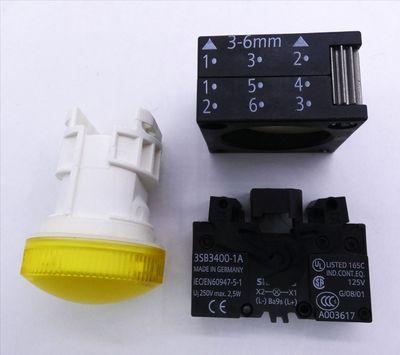 2x Siemens 3SB3 204-6AA30 E-Stand: 03 Leuchtmelder, gelb -unused/OVP- – Bild 3