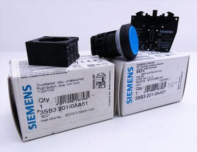 2x Siemens 3SB3 201-0AA51 E-Stand: var Drucktaster, blau -unused/OVP- – Bild 1