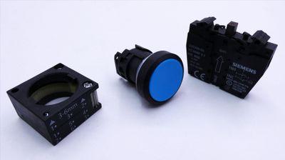 2x Siemens 3SB3 201-0AA51 E-Stand: var Drucktaster, blau -unused/OVP- – Bild 4