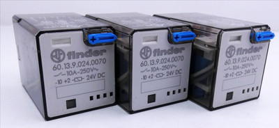 3x Finder 60.13.9.024.0070 10A-250V 24V DC Industrie-Relais -used- – Bild 1