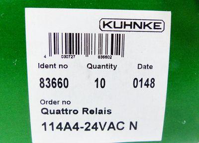10x Kuhnke 114A4-24VAC N 83660 Quattro Relais -unused/OVP- – Bild 2
