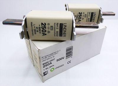 2x Lindner 8002.2507 250A 500V gL-gG NH-Sicherungseinsatz -unused/OVP- – Bild 1
