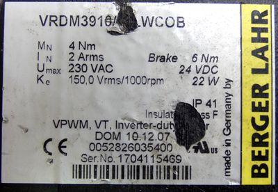 Berger Lahr VRDM3910/50LWCOB Schrittmotor + mayr ROBA-stop-M JN108367 -used- – Bild 3
