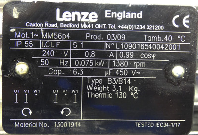 Lenze MM56p4 Motor + Lenze SSN31-1FDCR Getriebe i=7 -unused- – Bild 3