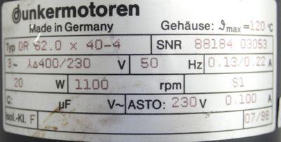 Dunkermotoren DR 62.0 x 40-4 Motor + Getriebe 88851 1760 i=20,25 -used- – Bild 3