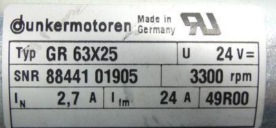 Dunkermotoren GR 63x25 Motor + Getriebe PLG52 i=20,25 + Haube mit Stecker -used- – Bild 3