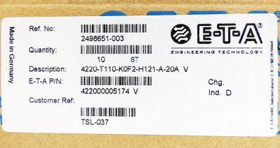 10x E-T-A ETA 4220-T110-K0F2-H121-A-20A V Schutzschalter -unused/OVP- – Bild 2