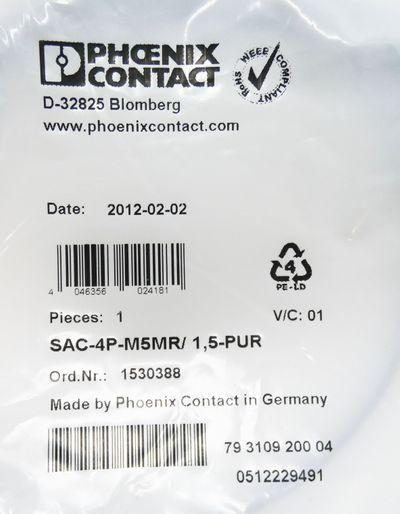 2x Phoenix Contact SAC-4P-M5MR/ 1,5-PUR 1530388 Sensor-/Aktor-Kabel -unused/OVP- – Bild 2