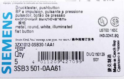 5x Siemens 3SB3 501-0AA61 E-Stand: 03 Drucktaster -unused/OVP- – Bild 2