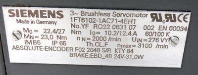 Siemens 1FT6102-1AC71-4EH1 Servomotor -used- – Bild 3