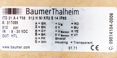 Baumer Thalheim ITD 21 A 4 Y58 512 H NI KR2 S14 IP65 Drehgeber -unused/OVP- – Bild 3