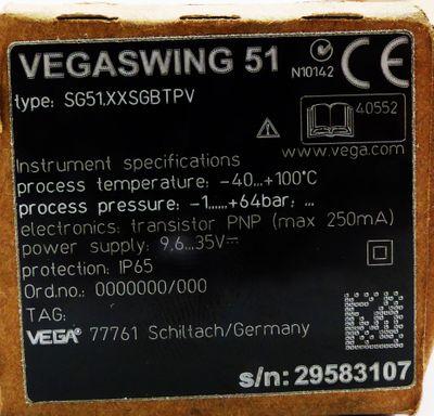 Vega Vegaswing 51 SG51.XXSGABTPVK Flüssigkeitsgrenzschalter -1+64bar -unused/OVP – Bild 2