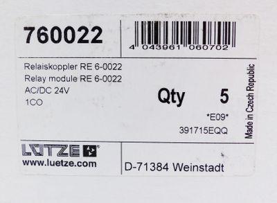 5x Lütze 760022 Relaiskoppler RE 6-0022 AC/DC 24V E-Stand: 09 -unused/OVP- – Bild 2