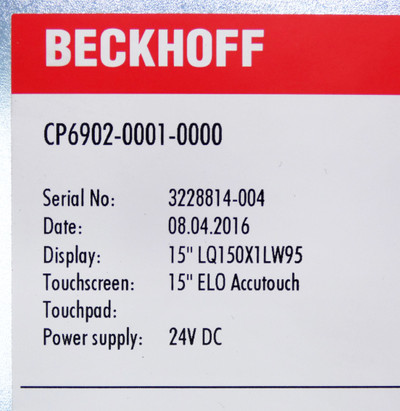"Beckhoff CP6902-0001-0000 15"" ELO Accutouch 24V DC Touch Panel -used- – Bild 3"