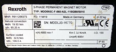 Rexroth MDD093C-F-060-N2L-100GB0/S015 Servomotor (Stecker beschädigt) -used- – Bild 3