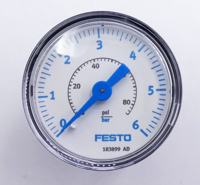 3x Festo MA-40-6-G1/4-EN 183899 0-6 bar Manometer -unused/OVP- – Bild 3