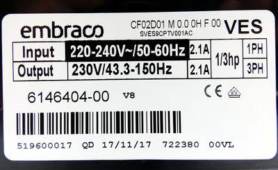 Embraco VESD9C 230V Kompressor + CF02D01 230V 2,1A Inverter -unused- – Bild 4