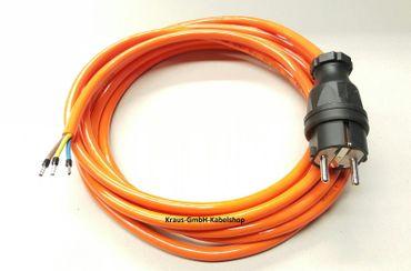 Stromkabel Geräteanschlusskabel Verlängerung H07BQ-F 3x1,5 10m orange kerbfest 3G1,5mm² 10m