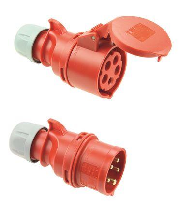 PCE SHARK IP44 CEE 16A 5p rot SET Stecker und Kupplung 5polig Starkstrom Menge