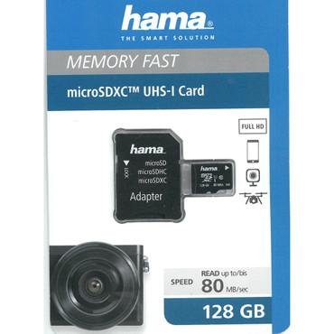 Hama micro SDXC 128 GB Class10 UHS-I 80MB/s Speicherkarte + Adapter