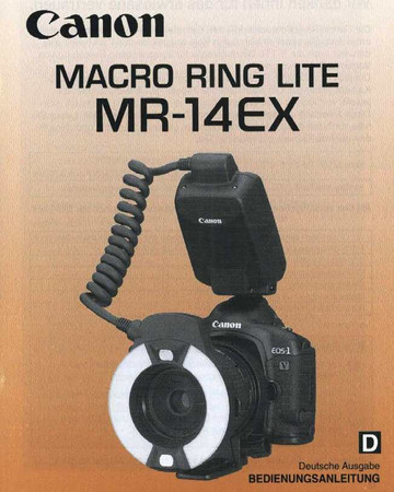 "Canon Macro Ring Lite MR-14EX, Bedienungsanleitung ""Original"","