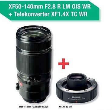 Fujifilm XF-50-140 mm F2.8 R LM OIS WR Tele-Zoomobjektiv im Set mit Telekonverter XF 1.4X TC WR