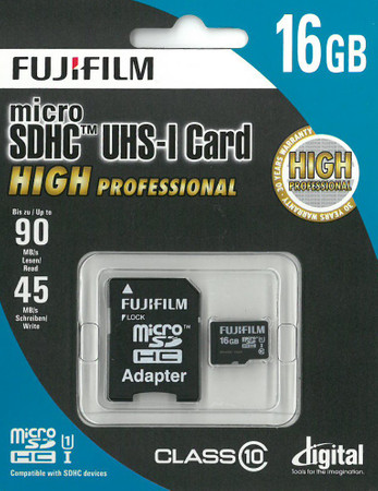 Fujifilm micro-SDHC Karte 16GB High Performance C10 inkl. SD-Adapter