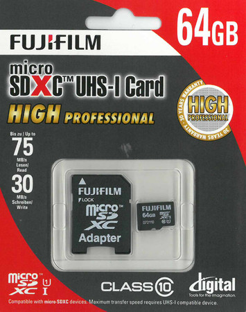 Fujifilm micro-SDHC Karte 64 GB High Performance Class 10 inkl. SD-Adapter