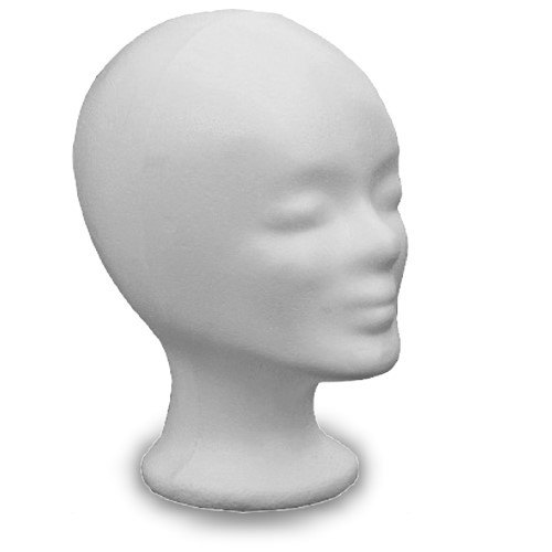 Styrofoam head, white, woman