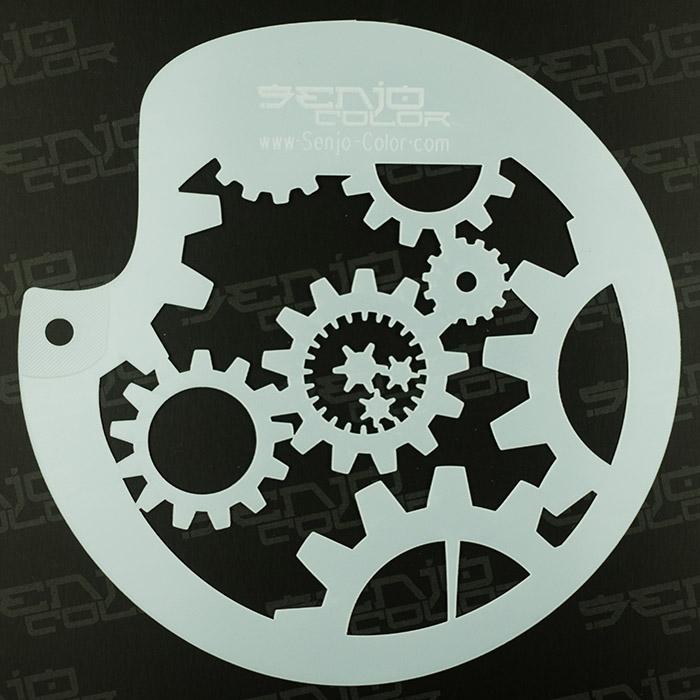 BodyArt Gearwheel Spray paint stencil circular