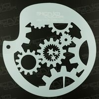 BodyArt Gearwheel Spray paint stencil circular