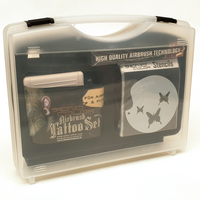 Senjo Color Airbrush Tattoo Set with Compressor Airbrush Colors and Stencils